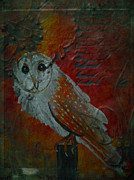 Textured Bird Mixed Media Posters - Barn Owl Painting Mixed Media by Laura Carter Poster by Laura  Carter