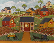 Amish Buggy Paintings - Barn Quilts by Mary Charles