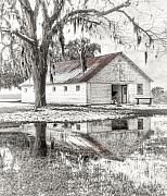 Winter Scenes Rural Scenes Posters - Barn Reflection Poster by Scott Hansen