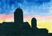 Indiana Landscapes Paintings - Barn Silhouette 2 by R Kyllo