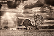 Farming Barns Posters - Barn Sunset. Poster by Todd Bielby