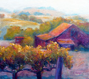 Napa Valley Vineyard Paintings - Barn Vineyard by Carolyn Jarvis