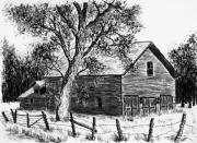 Award Drawings Prints - Barn West of Gunnison Print by Judy Sprague
