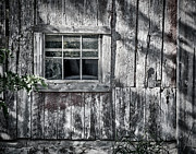 Glass Wall Prints - Barn Window Print by Joan Carroll