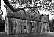 Barn With Brick Silo In Black And White Print by Julie Dant
