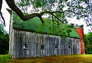 Julie Riker Dant Photo Prints - Barn With Brick Silo Print by Julie Dant