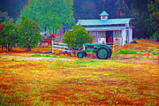 William Havle - Barn with Horses and Oliver Tractor