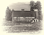 Drab Prints - Barn With Silo Print by Ron Roberts
