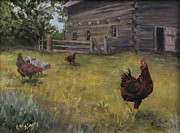 Hens And Chicks Paintings - Barn Yard Boss by Bev Finger