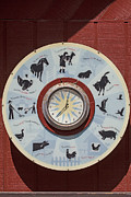 Rooster Photos - Barn yard clock by Garry Gay