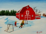 Hockey Painting Originals - Barn Yard Hockey by Anthony Dunphy