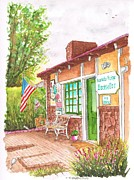 Laguna Beach Painting Metal Prints - Barnaby-Rudge-Bookstore-in-Laguna-Beach-CA Metal Print by Carlos G Groppa