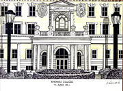 Famous University Buildings Drawings Art - Barnard College by Frederic Kohli