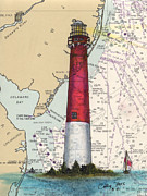 Barnegat Lighthouse Framed Prints - Barnegat Lighthouse NJ Nautical Chart Map Art Framed Print by Cathy Peek