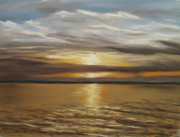 Print Pastels Originals - Barnegat Sunset by Joan Swanson