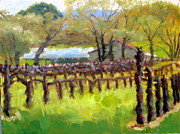 Grapevines Paintings - Barns and Winter Vines by Char Wood