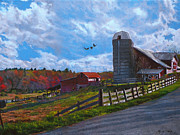 Hill Painting Acrylic Prints - Barns at Rigor Hill Acrylic Print by Kenneth Young