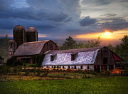 Midwest Scenes Posters - Barns at Sunset Poster by Debra and Dave Vanderlaan