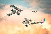 Sky Lovers Art Framed Prints - Barnstormers in The Golden Age of Flight - Fokker D7 - Spad 7 - Curtiss Jenny JN-4H Framed Print by Gary Heller