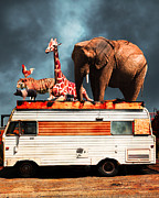 Trailers Posters - Barnum and Bailey Goes On a Road Trip 5D22705 Vertical Poster by Wingsdomain Art and Photography
