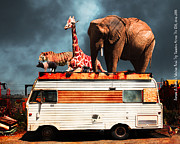 Ringling Brothers Posters - Barnum and Baileys Fabulous Road Trip Vacation Across The USA Circa 2013 5D22705 with text Poster by Wingsdomain Art and Photography