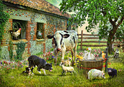 Collie Digital Art Metal Prints - Barnyard Chatter Metal Print by Trudi Simmonds