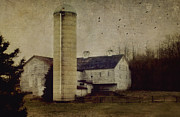 White Barn Prints - Barnyard Print by Kathy Jennings