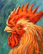 Bright Color Rooster Prints - Barnyard King Print by Theresa Paden