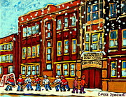 Hockey Art Paintings - Baron Byng High School St Urbain Street Hockey Montreal Winter Scene Carole Spandau Montreal Artist by Carole Spandau