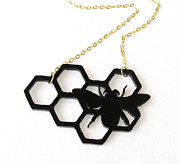 Perspex Necklace Jewelry - Baronyka Black Bee Pendant Necklace by Rony Bank