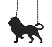 Lion Jewelry - Baronyka Black Lion Pendant Necklace by Rony Bank