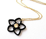 Nature Inspired Jewelry - Baronyka Delicate Black Flower Necklace With Swarovski by Rony Bank