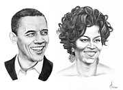 Barrack-obama Drawings Posters - Barrack and Michelle Obama Poster by Murphy Elliott