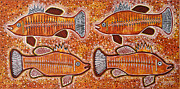 Aboriginal Art Paintings - Barramundi Dreaming by Darlene Devery