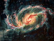 Astronomical Art Painting Originals - Barred Spiral Galaxy by Arwen De Lyon