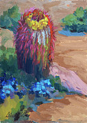 Barrel Paintings - Barrel Cactus In Bloom by Diane McClary