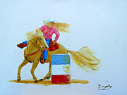 Barrel Paintings - Barrel Racer by Anthony Dunphy