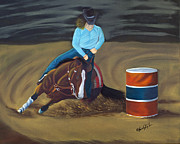 Horse Drawings - Barrel Racer by Lana Tyler