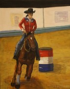 Original Cowgirl Framed Prints - Barrel racer Framed Print by Larry Lamb