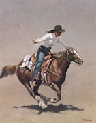 Racer Posters - Barrel Racer Salinas Rodeo Poster by Terry Guyer