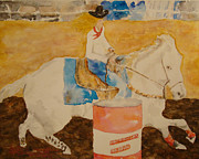 Barrel Painting Originals - Barrel Racing by Greg Blancett