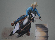 Barrel Pastels Prints - Barreling Print by Susan Herber