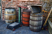 Wooden Structures Prints - Barrels Crates Freight Scale Dolly Print by Ken Smith
