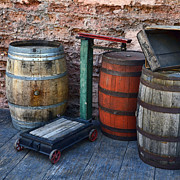Wooden Structures Prints - Barrels Crates Freight Scale Dolly Square Print by Ken Smith