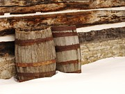 Straps Prints - Barrels in the Snow Print by Barry Ulrich