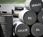 Barrels Posters - Barrels of Grease and Oil Poster by Julie Stouffer