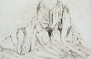 Formation Drawings Prints - Barren Landscape Shiprock Print by Pati Hays
