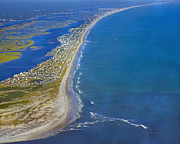 Topsail Island Framed Prints - Barrier Island Aerial Framed Print by Betsy A Cutler East Coast Barrier Islands