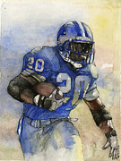 Football Mixed Media Acrylic Prints - Barry Sanders Acrylic Print by Michael  Pattison