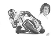Motorsport Drawings - Barry Sheene MBE by Chris Cox